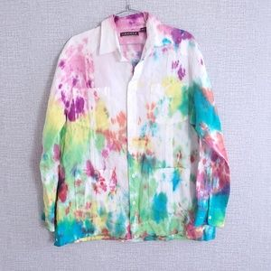 Cubavera Button Down Linen Tie Dye L/S Shirt (T3)